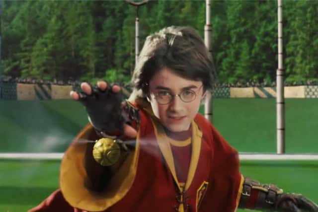 Harry is riding a flying broom